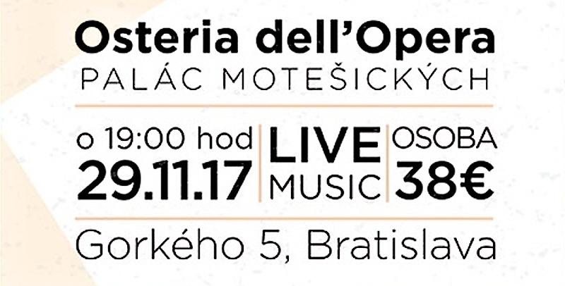 Pozývame vás na Taliansky večer v Osteria dell'Opera